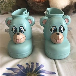 Blue monkey welly boots
